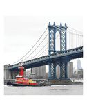 Manhattan Bridge with Tug Boat Print by Erin Clark