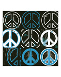 Peace Mantra (blue) Print by Erin Clark