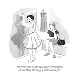 """I'm pretty sure middle-aged upper-arm jiggle is the one thing there's not..."" - New Yorker Cartoon Premium Giclee Print by Emily Flake"