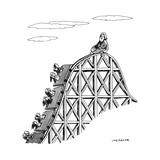 The guru sits at the peak of a roller coaster track.  - New Yorker Cartoon Reproduction giclée Premium par Joe Dator