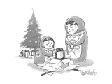 A Russian Doll mother and daughter open Christmas presents within presents - New Yorker Cartoon Premium Giclee Print by Liam Walsh