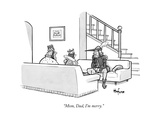 """Mom, Dad, I'm merry."" - New Yorker Cartoon Premium Giclee Print by Kaamran Hafeez"
