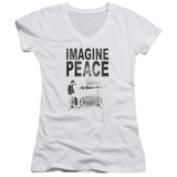 Juniors: John Lennon- Imagine Peace V-Neck Shirt