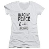 Juniors: John Lennon- Imagine Peace V-Neck Womens V-Necks