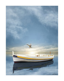 The White Boat in Sunset Posters by Carlos Casamayor