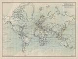 Ocean Current Map I Giclée-tryk af  The Vintage Collection