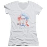 Juniors: John Lennon- Color Burst V-Neck Womens V-Necks