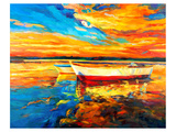 Coastal Boats Sunset Painting Posters