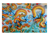 Chinese Golden Dragon on Wall Posters