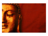 Buddha Face & Red Background Prints