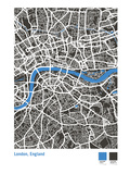 London Street Map in Black Giclee Print by Michael Tompsett