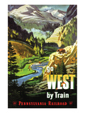 Go West By Train Posters