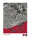 Toronto Street Map in Black Giclee Print by Michael Tompsett