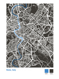 Rome Street Map in Black Giclee Print by Michael Tompsett
