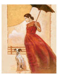 Lady in Red with Dog Prints by  Joadoor