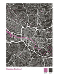 Glasgow Street Map in Black Giclee Print by Michael Tompsett