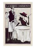 La Soiree Commence Restaurant Poster by Rene Stein