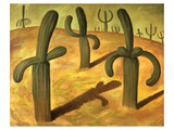 Landscape with Cacti Póster por Rivera, Diego