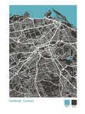 Edinburgh Street Map in Black Giclee Print by Michael Tompsett