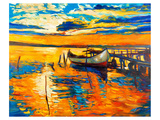 Moored Boat and Ocean Sunset Lámina giclée premium