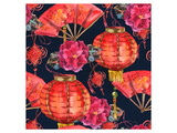 Oriental Chinese New Year Silk Posters