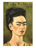 Portrait with Gold Dress Print by Frida Kahlo