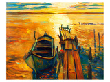 Ocean Sunset with Boat & Jetty Lámina giclée premium