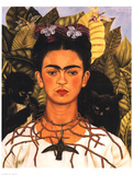 Portrait with Necklace Print by Frida Kahlo