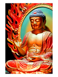 Red Draped Buddha Statue Posters