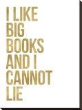 I Like Big Books Golden White Stretched Canvas Print by Amy Brinkman