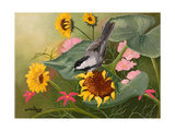 Chickadee and Sunflowers Art par Julie Peterson