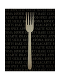Kitchen Words with Fork Art by Amy Cummings