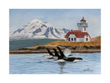Patos Lighthouse and Orcas Posters by Julie Peterson