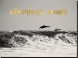 Dolphins Adventure Awaits Golden Stretched Canvas Print by Amy Brinkman