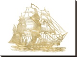 Ship 3 Golden White Stretched Canvas Print by Amy Brinkman