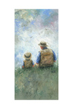 Father and Son Talk Tall Prints by Vickie Wade