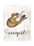 Cowgirl Watercolor Hat Art by Tara Moss