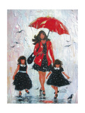 Rain Girls Red Clean Premium Giclee Print by Vickie Wade