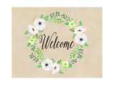 Welcome Green Wreath Poster by Tara Moss