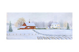 Red Barn in Snow Posters by Julie Peterson