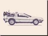 Delorean Back To The Future Stretched Canvas Print by Florent Bodart