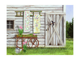 Garden Shed and Swallow Print by Julie Peterson