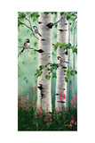 Chickadees in the Birch Trees Affiches par Julie Peterson