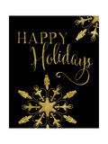 Happy Holidays Gold and Black Prints by Amy Cummings