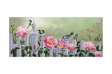 Chickadees and Pink Roses Posters by Julie Peterson