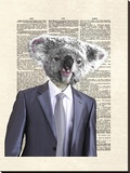 Koala Suit Stretched Canvas Print by Matt Dinniman