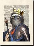 Sloth King Stretched Canvas Print by Matt Dinniman