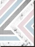 Geometric Pink Blue Stretched Canvas Print by  LILA X LOLA