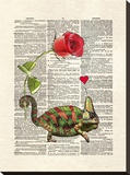 Chameleon Love Stretched Canvas Print by Matt Dinniman