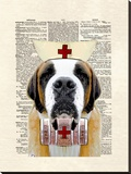 St Bernard Nurse Stretched Canvas Print by Matt Dinniman